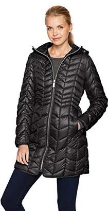 Kenneth Cole Women's Hooded Chevron Quilted Lightweight Puffer with Chunky Zipper
