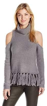 Moon River Women's Cold Shoulder Turtleneck Sweater Top