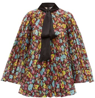 Romance Was Born Pop Life Floral Pleated Organza Blouse - Womens - Multi
