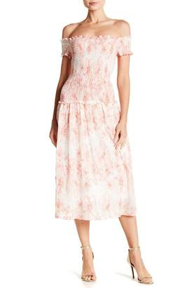 Max Studio Smocked Gauze Off-the-Shoudler Midi Dress