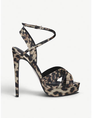 Kurt Geiger Sammy leopard-print satin heeled sandals