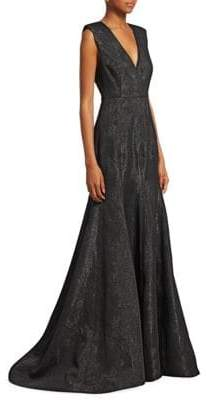 Halston Metallic Jacquard Evening Gown