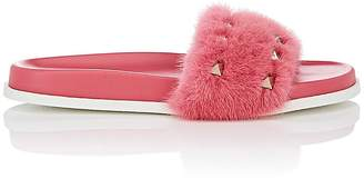 Valentino WOMEN'S ROCKSTUD MINK FUR SLIDE SANDALS