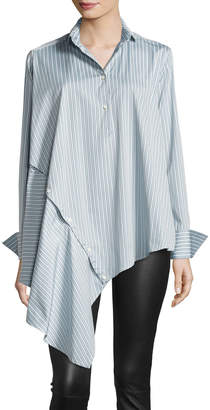 Palmer Harding Palmer//Harding Spicy Striped Detachable Asymmetric Cotton Shirt