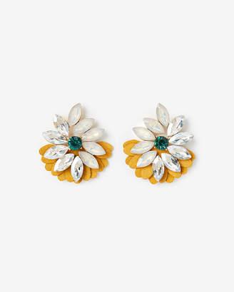 Express Large Flower Leather Drop Earrings