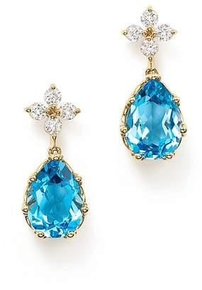 Bloomingdale's Diamond & Blue Topaz Drop Earrings in 14K Yellow Gold - 100% Exclusive