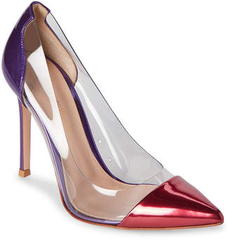 Gianvito Rossi Red & Violet Plexi Metallic Pumps