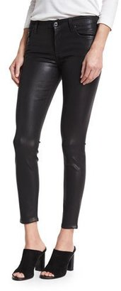7 For All Mankind The Ankle Skinny Coated Jeans, Black $199 thestylecure.com