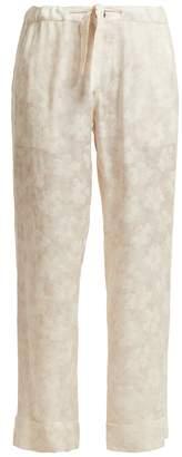 CHUFY Floral-jacquard cherry blossom-print trousers