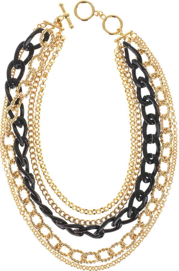 Kenneth Jay Lane Gold multi-chain necklace