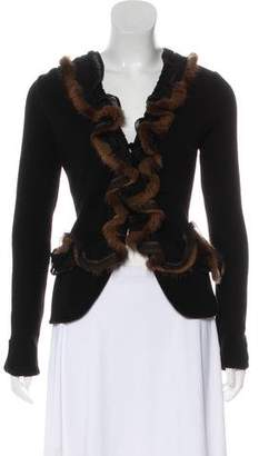 Blumarine Mink-Trimmed Long Sleeve Cardigan