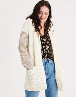 AE Colorblock Shawl Collar Cardigan Sweater