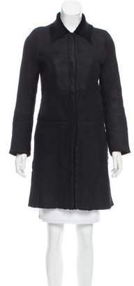 Barbara Bui Leather Calf Hair Coat