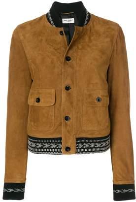 Saint Laurent Ikat trim cropped jacket
