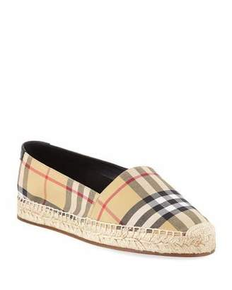 Burberry Hodgeson Vintage Check Espadrille Slip-On Flat