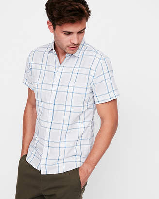 Express Slim Plaid Short Sleeve Double Weave Shirt