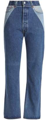 Levi's Re/Done By Patchwork-Effect High-Rise Straight-Leg Jeans