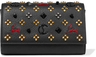 Christian Louboutin Paloma Embellished Textured-leather Clutch - Black