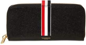 Thom Browne Stripe Pebbled Leather Zip Around Wallet