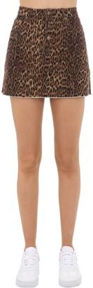 Leo Print Cotton Denim Skirt