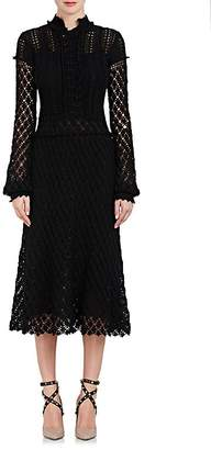 Valentino WOMEN'S CROCHET COTTON LONG-SLEEVE DRESS