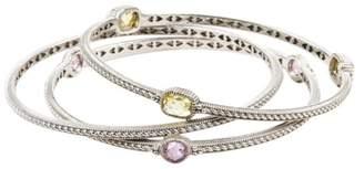 Judith Ripka 925 Sterling Silver Yellow Pink Quartz Bangle Bracelet