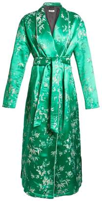 ATTICO Giacca Oriental Satin Jacquard Kimono Dress - Womens - Green