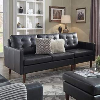 Weston Home Gilly Button Tufted Black Leather Gel Removable Cushion Sofa Sectional