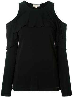 MICHAEL Michael Kors cold shoulder ruffle top