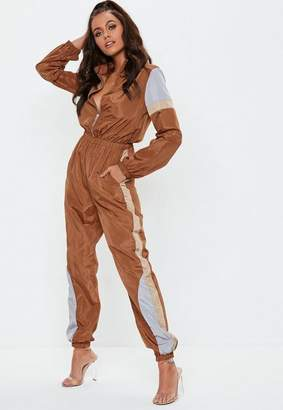 Missguided Brown Colourblock Shell Suit
