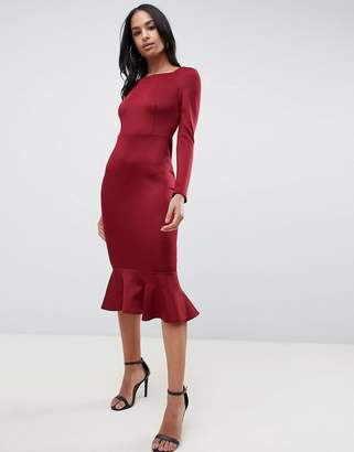 Club L London peplum frill midi dress with boat neckline