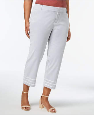 Charter Club Plus Size Striped Cropped Seersucker Pants