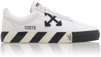 Off-White Vulcanised Striped Low Top Leather Sneakers