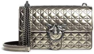 Pinko Leather Tris Love Quilted Shoulder Bag
