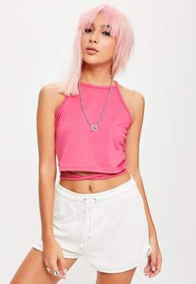 Missguided Tall Pink Wrap Around Cropped Top