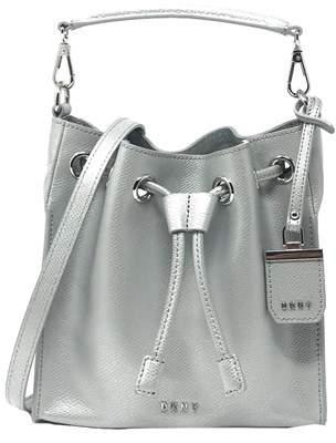 DKNY Dkny Saffiano Drawstring Leather Bucket Bag.