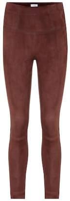 Brunello Cucinelli High-waisted suede leggings