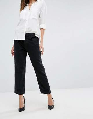 J Brand High Rise Crop Straight Jean With Raw Hem And Abrasions
