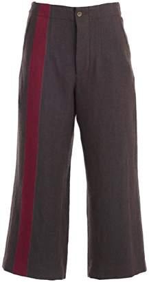 Uma Wang Cropped Side Stripe Trousers