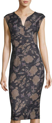 Label By 5twelve Floral Bonded Scuba Crepe Sheath Dress