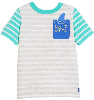 Joules Two-Tone Striped Shark Pocket Tee, Size 3-6