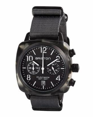 Briston Clubmaster Classic Chronograph Watch, Gray/Black $350 thestylecure.com
