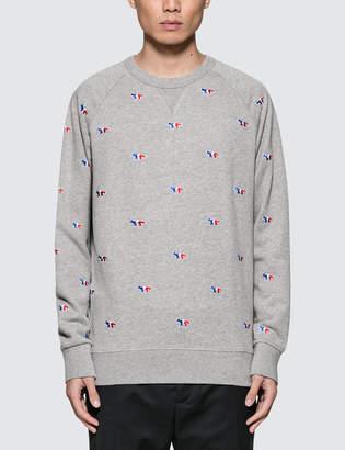 MAISON KITSUNÉ Tricolor Fox Embroidery All-Over Sweatshirt