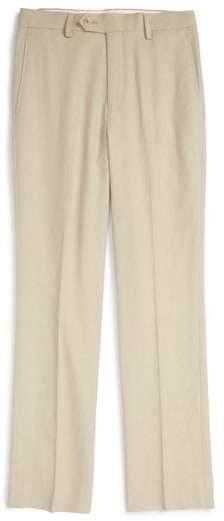 'Kirton' Flat Front Linen Blend Trousers