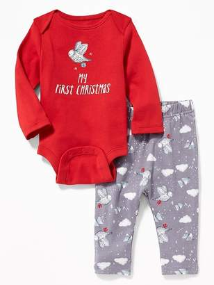 Old Navy 2-Piece Holiday-Graphic Bodysuit & Pants Set for Baby