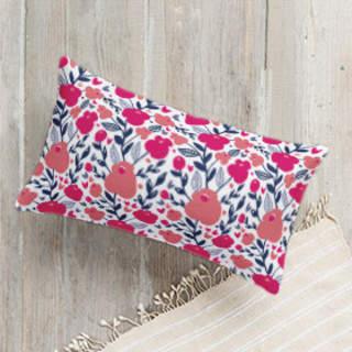 Pink Blossom Lumbar Pillow