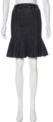 Just Cavalli Pleated Denim Skirt