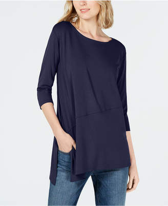 Eileen Fisher Stretch Jersey Boat-Neck Asymmetrical Top, Regular & Petite