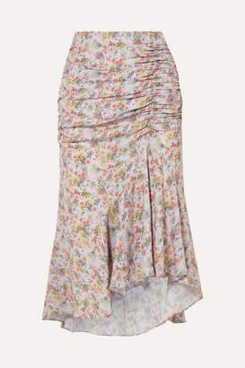 Alice + Olivia Freida Asymmetric Ruched Floral-print Crepe Midi Skirt