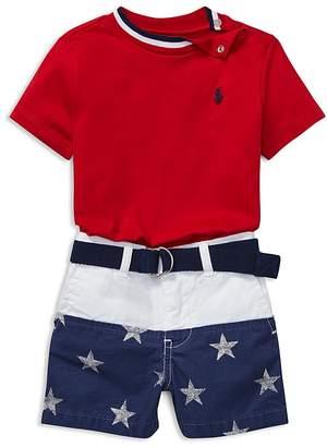 Ralph Lauren Boys' Tee, Contrast Star-Print Shorts & Belt Set - Baby